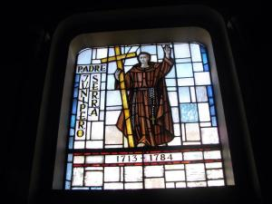 Father Serra stained glass C Johnson