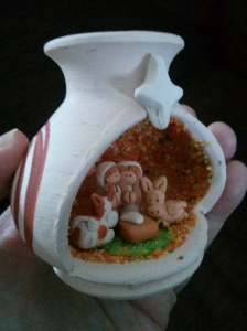 "Tiny Nativity in a pottery ""stable""--it fits in the palm of my hand!"