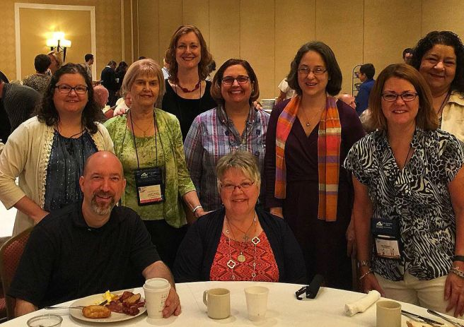 With (rear) Nancy Ward, Lisa Mladinich, Pat Gohn, Karee Santos, Lisa Hendey, Leticia Velasquez, (front) Jeff Young (the Catholic Foodie) and Margaret Rose Realy, Obl. OSB.