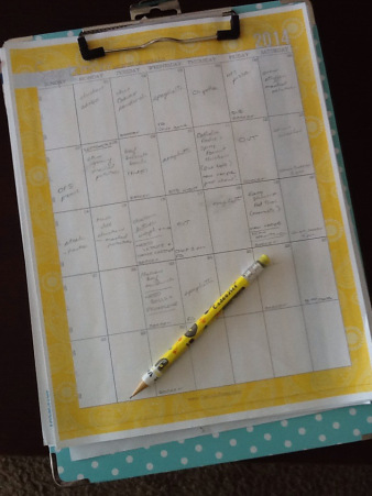 A previous year's meal plan calendar on my trusty clipboard.