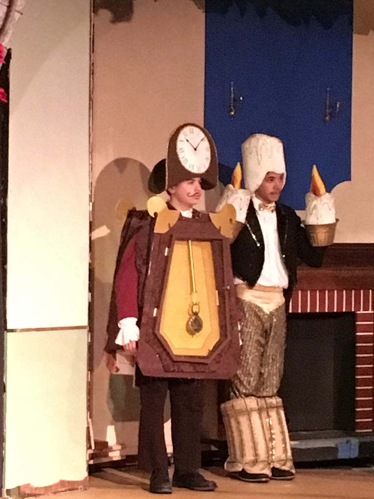 Cogsworth (the clock) is mine. The mustache is fake. The pendulum is not. We have geniuses creating costumes at this theatre. I am not one of them.