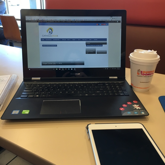 My Dunkin' office. Hot coffee and a big table where I can spread out.